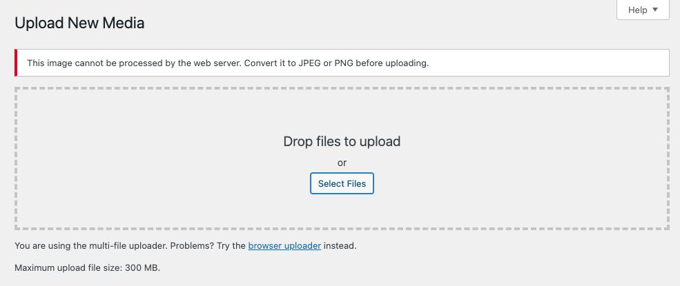 Error al subir una imagen WebP en la biblioteca de medios de WordPress