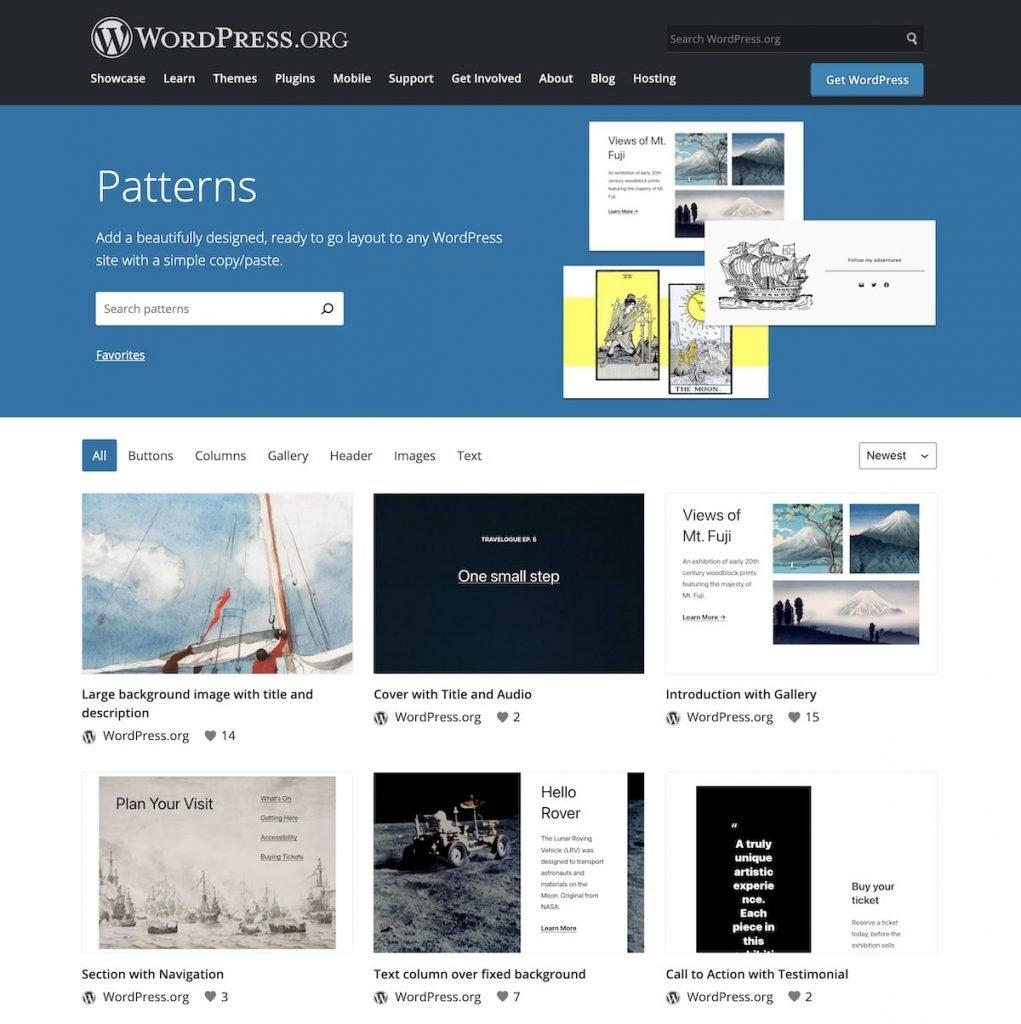 Pattern directory on WordPress.org