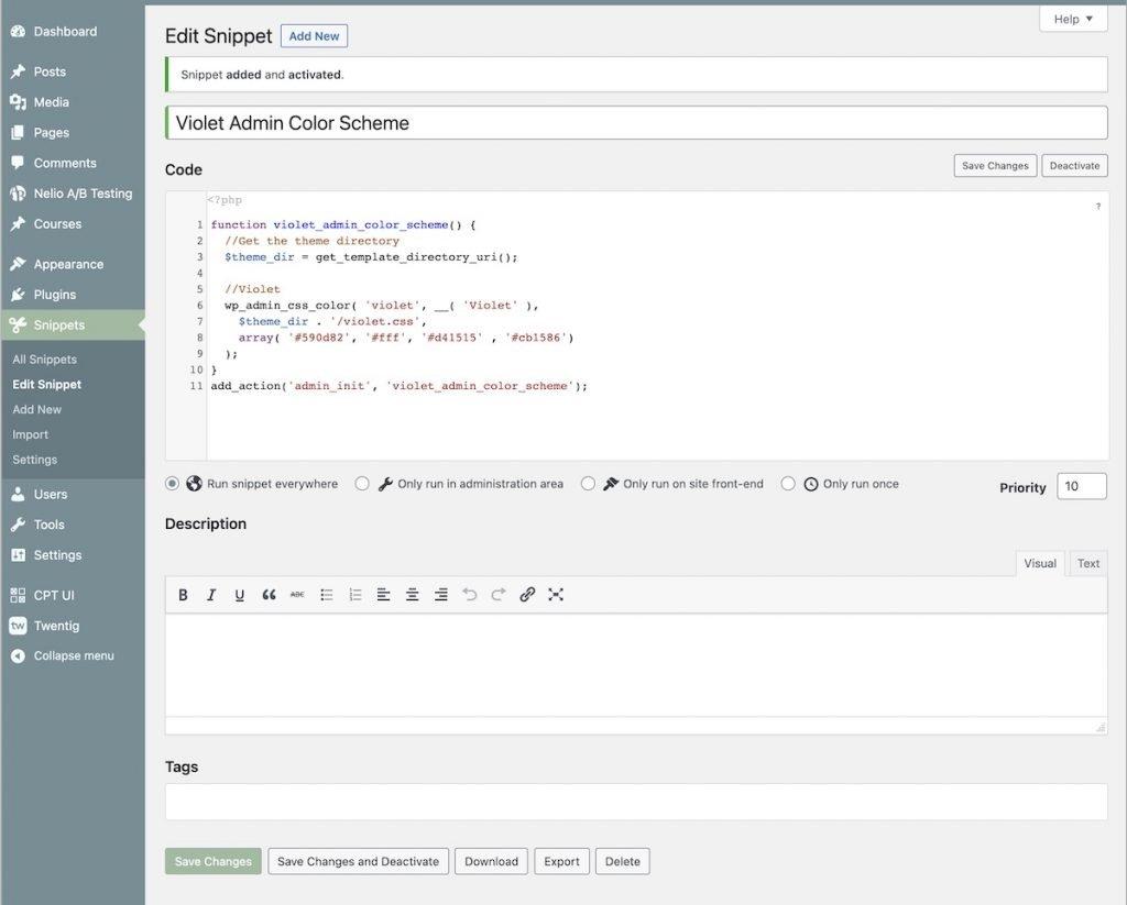 Añadir un trozo de código con el plugin Code Snippets
