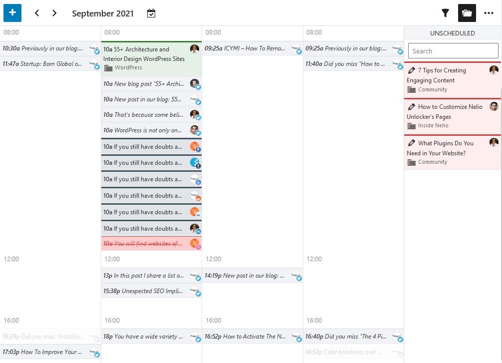 Captura de pantalla de la vista de agenda en el calendario editorial de Nelio Content