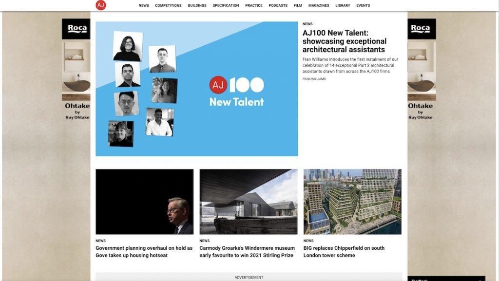 Captura de pantalla de la web Architects Journal