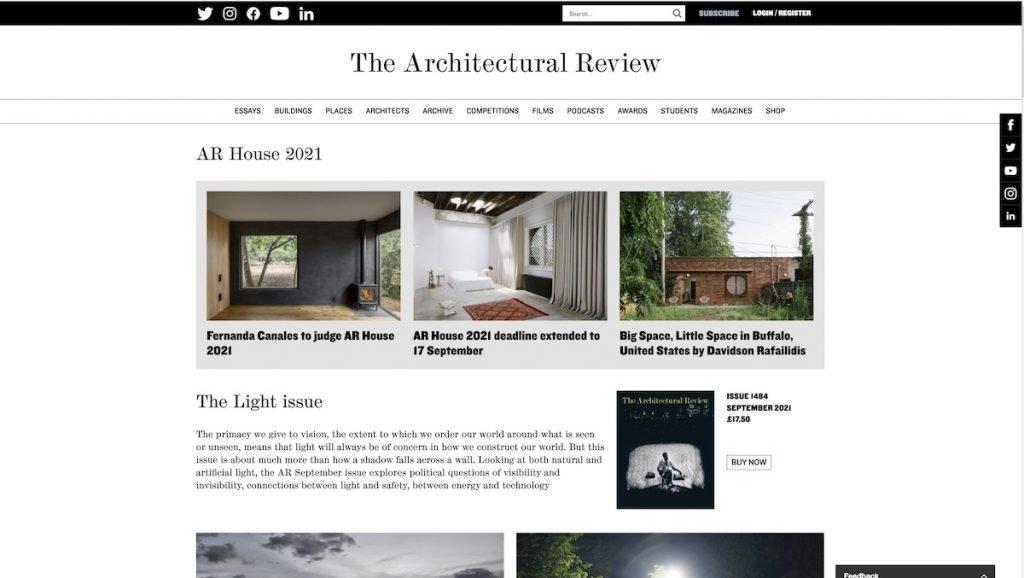 Captura de pantalla de la web The Architectural Review