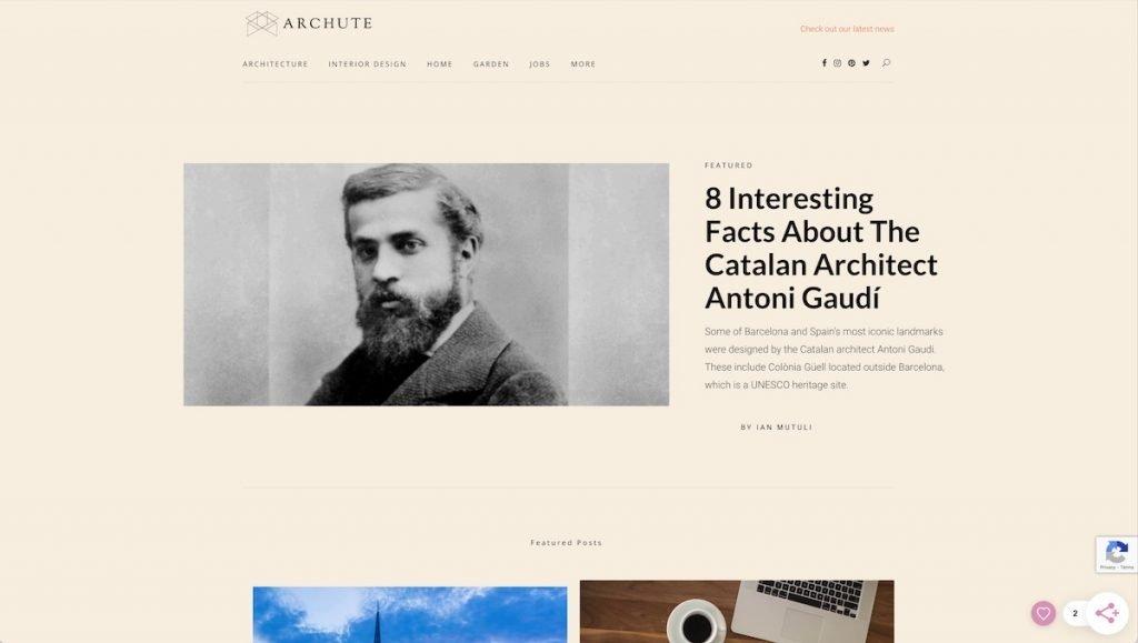 Captura de pantalla de la web Archute
