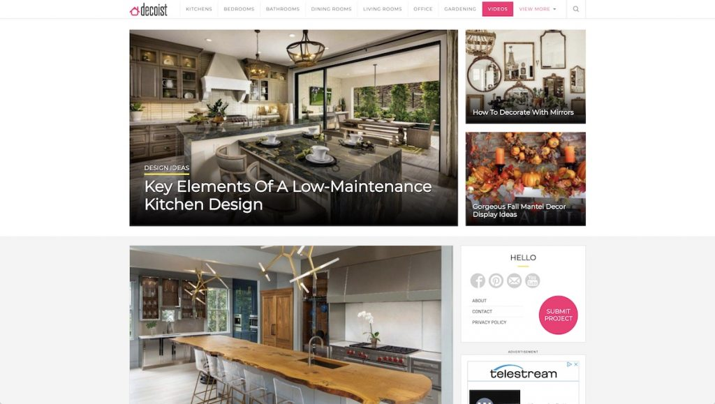 Captura de pantalla de la web Decoist.com