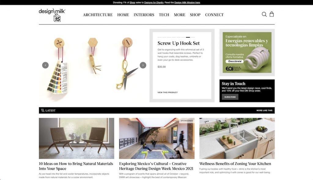 Captura de pantalla de la web Design Milk