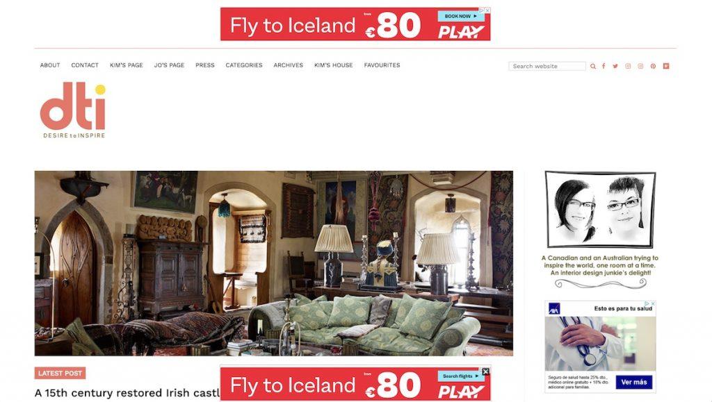 Captura de pantalla de la web  Desire to Inspire