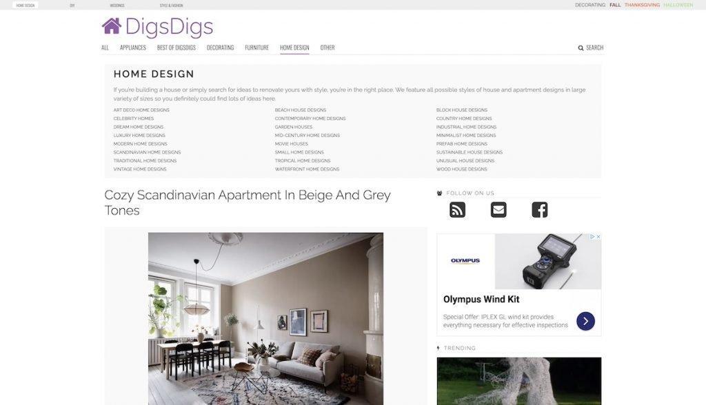 Captura de pantalla de la web DigsDigs
