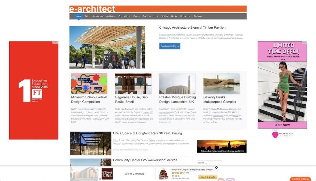 Captura de pantala de la web e-architect