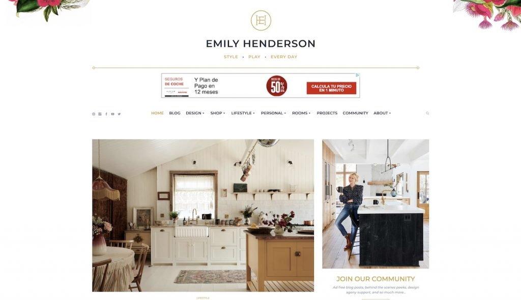Captura de pantalla de la web Emily Henderson