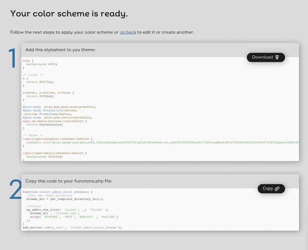 Instrucciones para añadir un esquema de colores a tu WordPress