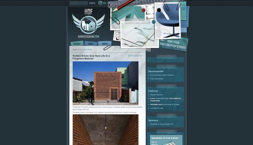 Captura de pantalla de la web Home Design Find