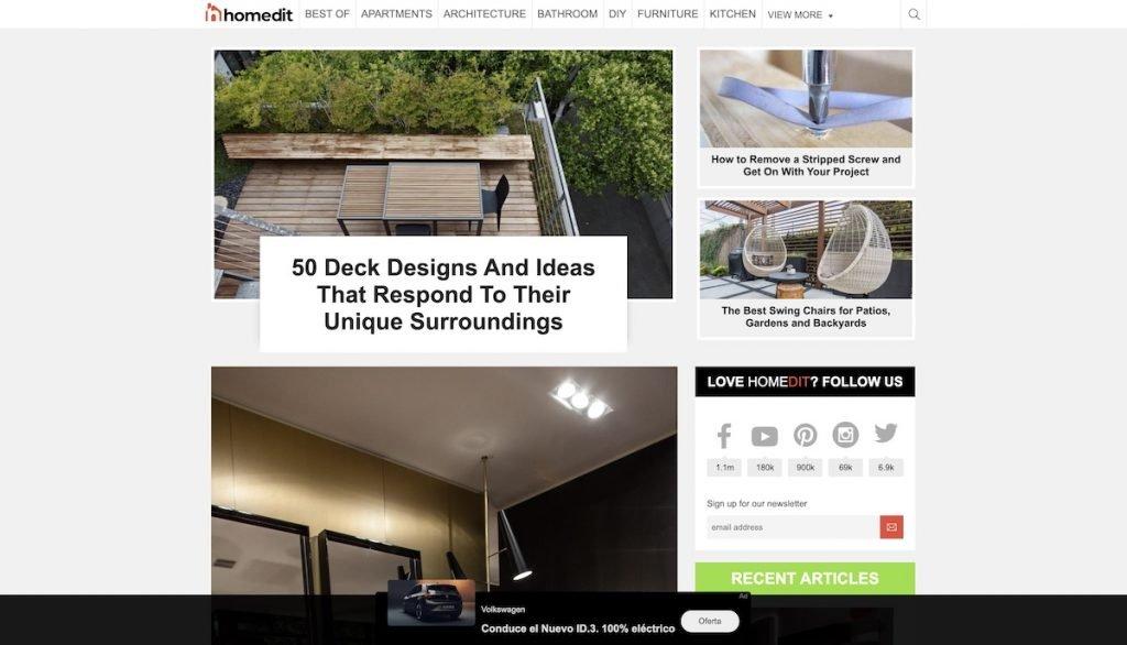Captura de pantalla de la web Homeedit
