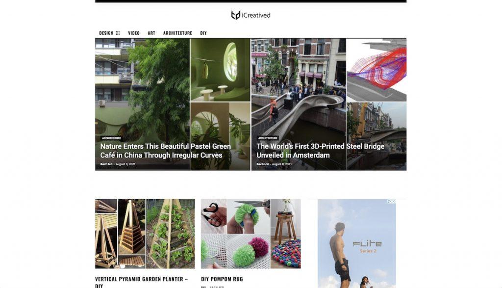 Captura de pantalla de la web ICreatived