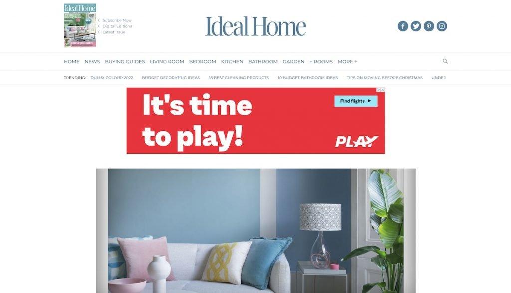 Captura de pantalla de la web Ideal Home