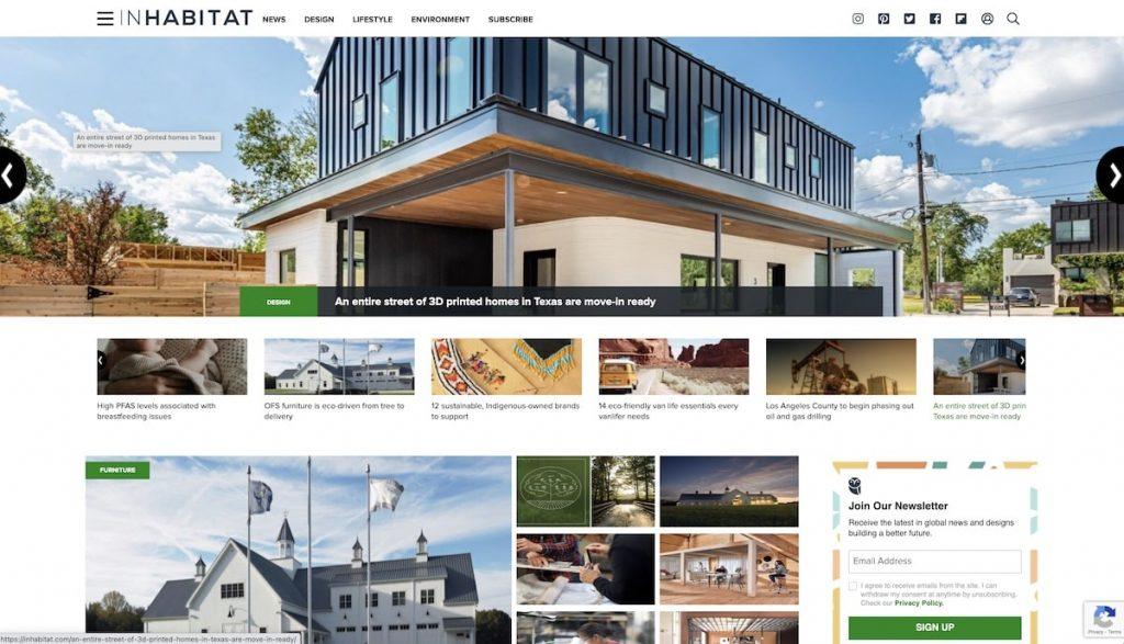 Captura de pantalla de la web Inhabitat