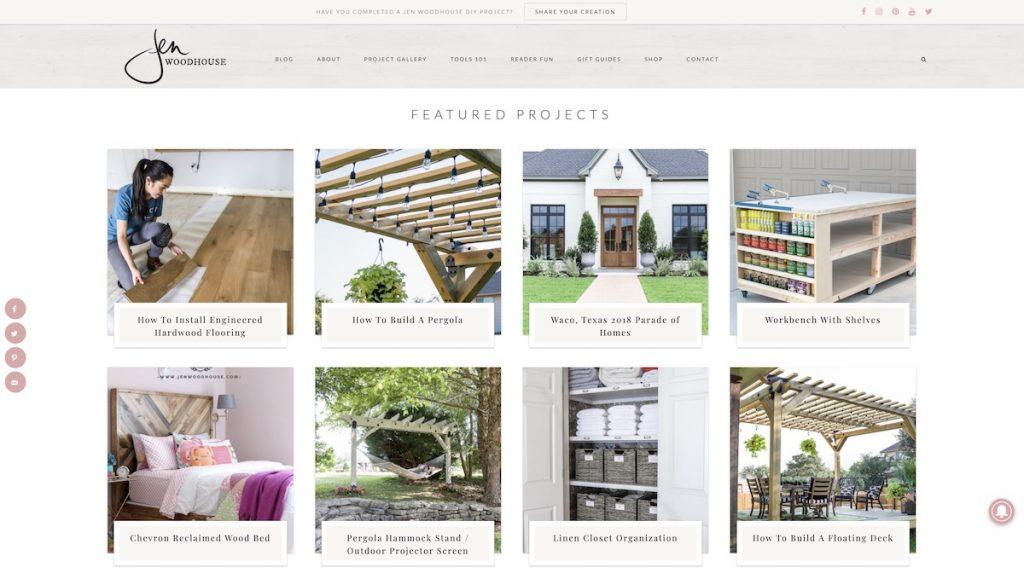 Captura de pantalla de la web Jen Woodhouse