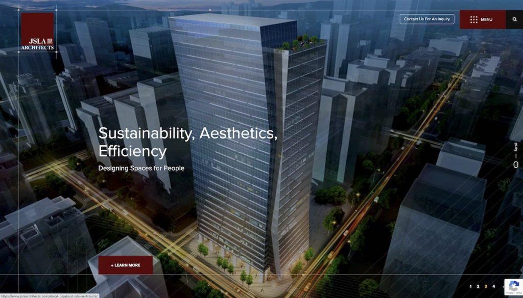Captura de pantalla de la web JSLA Architects