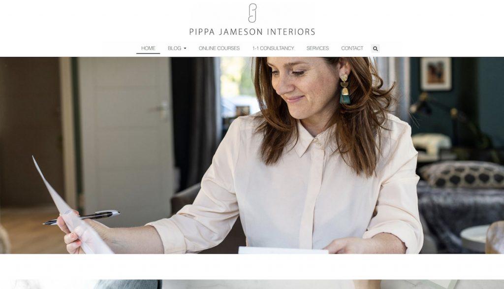 Captura de pantalla de la web Pipp Jameson Interiors