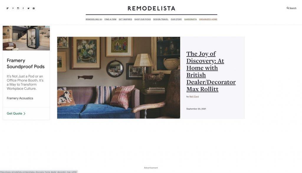 Captura de pantalla de la web Remodelista