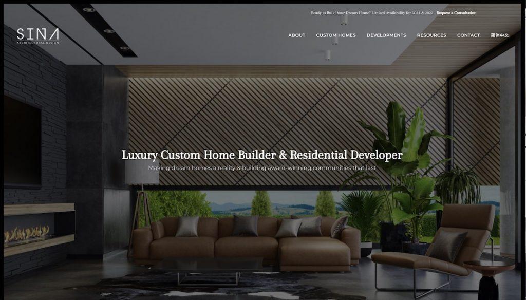 Captura de pantalla de la web Sina Architectural Design