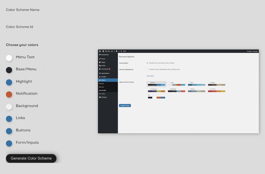 Personalización de la generación de un nuevo esquema de colores del tema de administración de WordPress