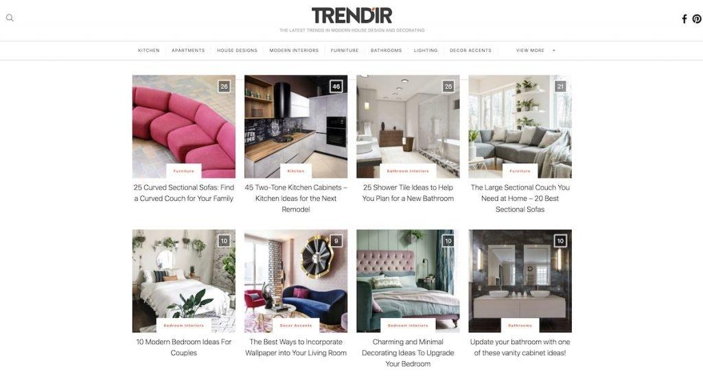 Captura de pantalla de la web Trendir