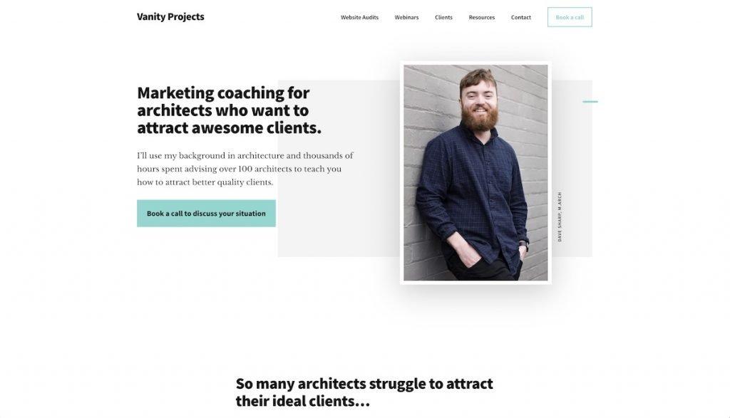 Captura de pantalla de la web Vanity Projects