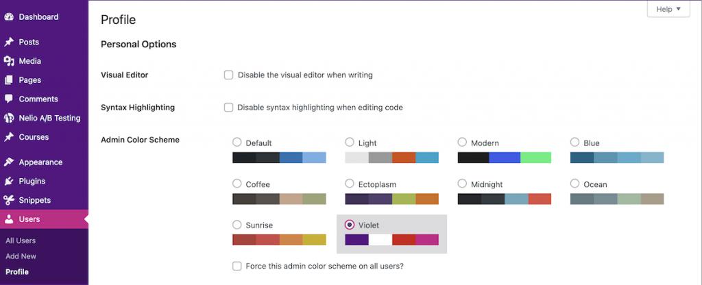 Nuevo esquema de colores creado en WordPress