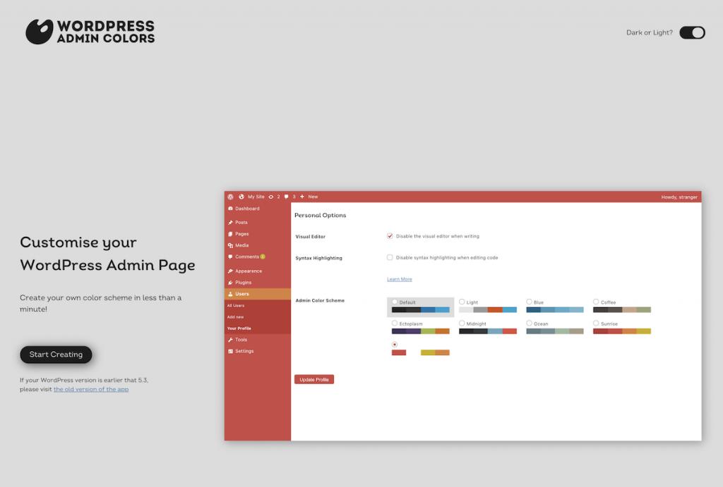 Web de WordPress Admin Color