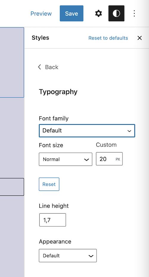 Modificación de las propiedades de estilo de un bloque determinado