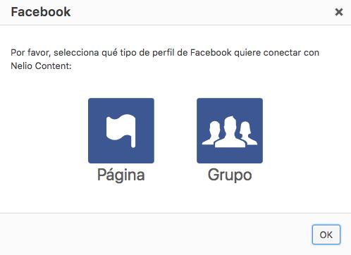 Selecciona si quieres conectar un perfil de página o de grupo de Facebook.