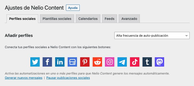 Añadir nuevo perfil social de Ajustes