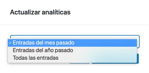 Diálogo para actualizar analíticas desde los ajustes de Nelio Content dónde puedes seleccionar el conjunto de contenidos a actualizar.