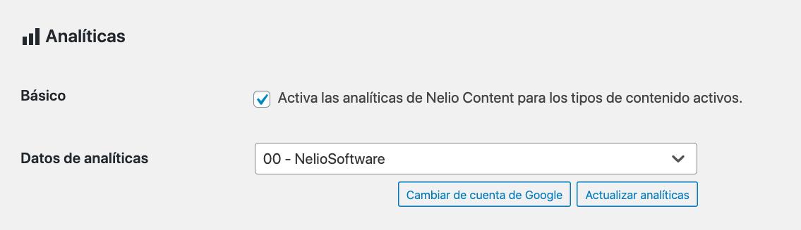 Opciones de analíticas en Nelio Content.