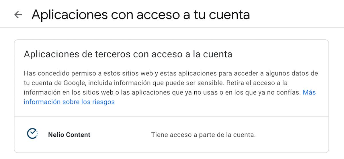 Applicaciones de tercercos con acceso a la cuenta de Google.