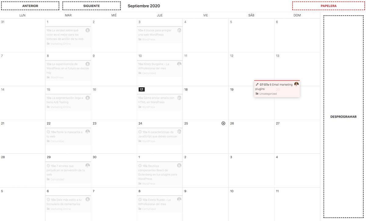 Arrastrar una entrada sin fecha al calendario.