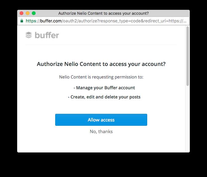 Autorizar a Nelio Content a acceder a Buffer