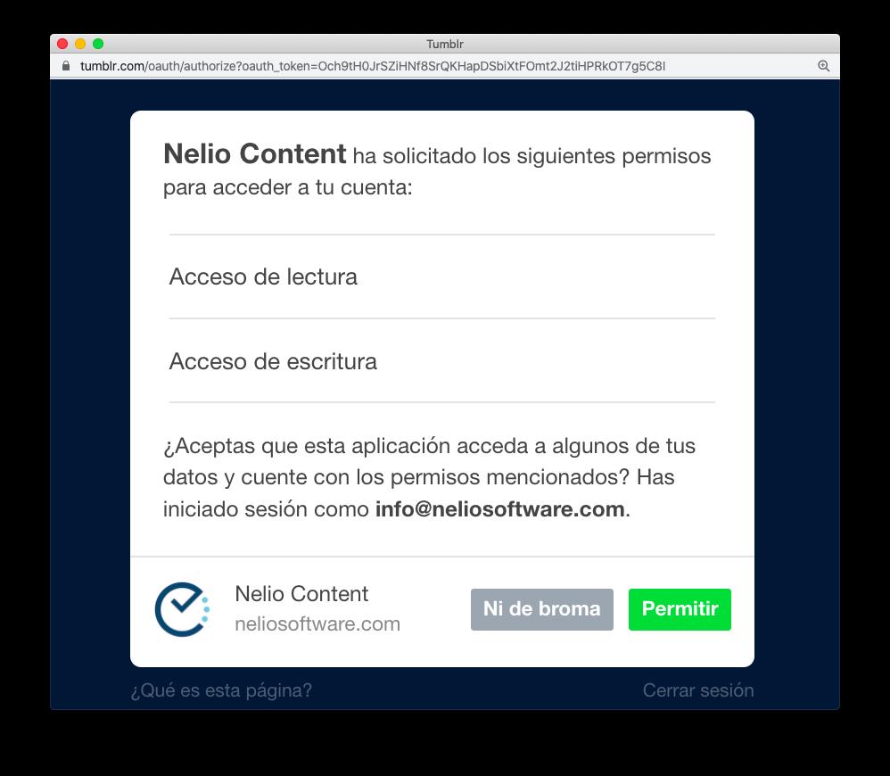 Autorizar a Nelio Content a acceder a publicar en Tumblr.
