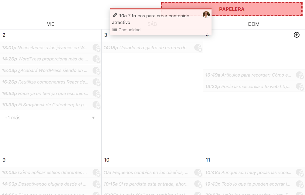 Acciones contextuales del calendario mientras se arrastra