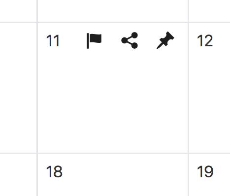 Acciones disponibles dado un día cualquiera en el calendario editorial