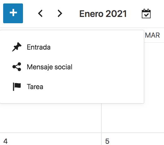 Acciones del calendario editorial
