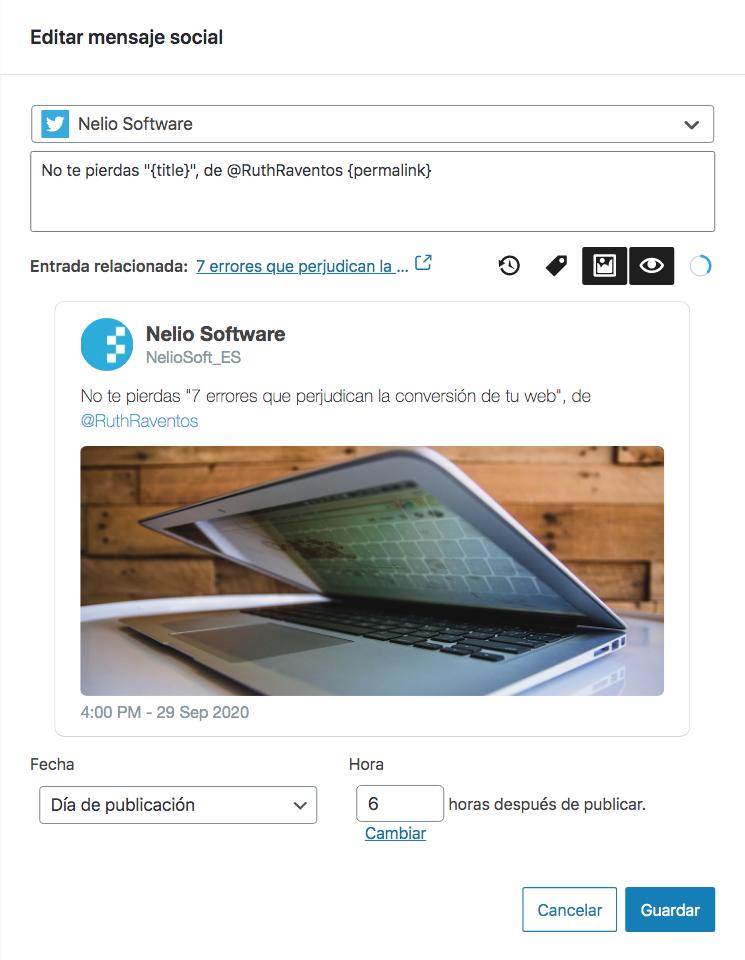 Captura de pantalla del diálogo de edición de un mensaje social