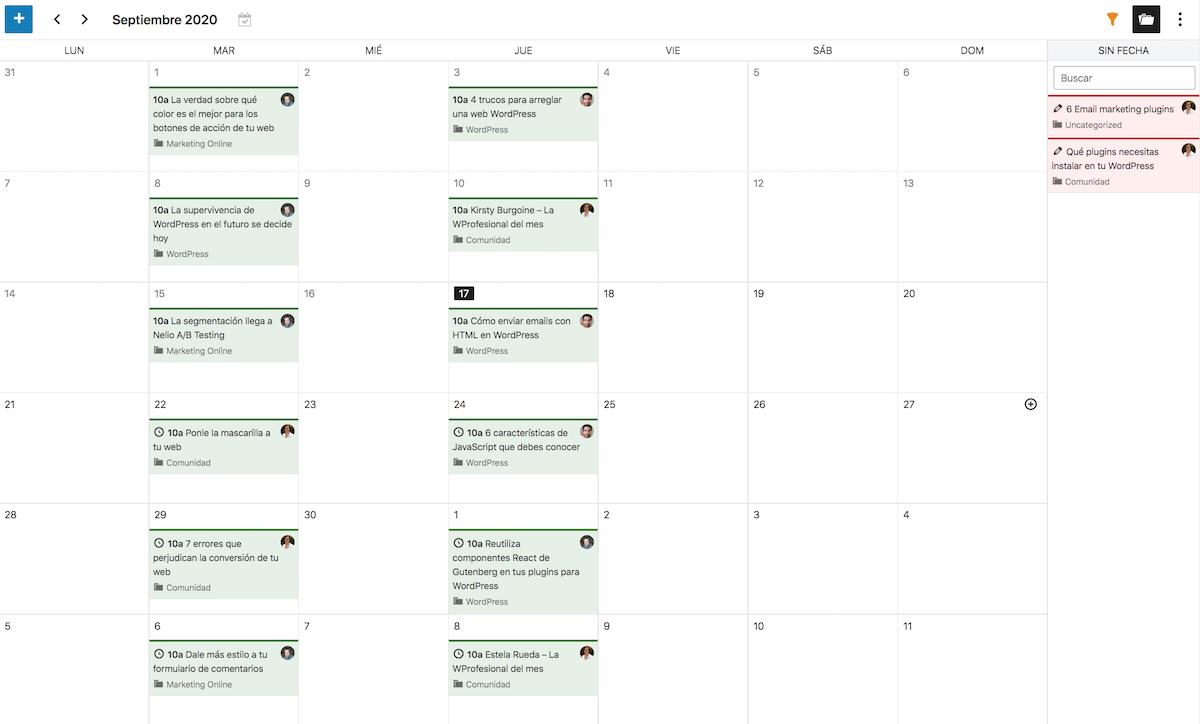 Captura de pantalla del calendario editorial mostrando también entradas sin fecha prevista de publicación.