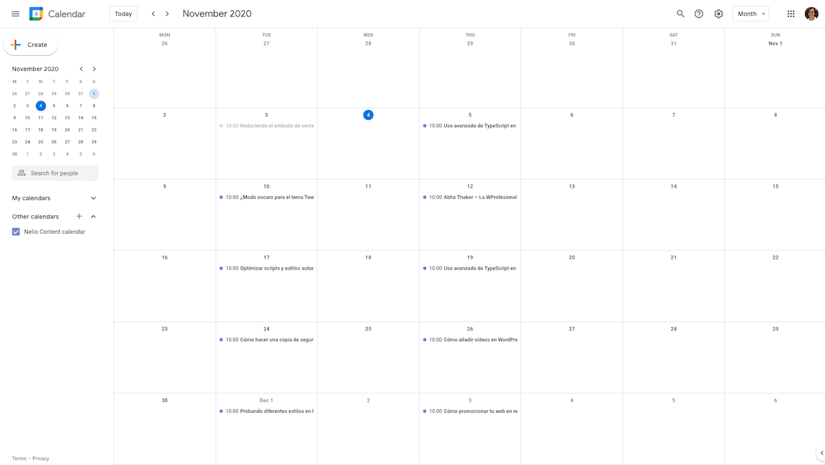 Calendario editorial exportado a Google Calendar.
