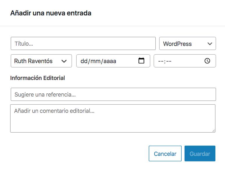 Diálogo para la creación de entradas de WordPress