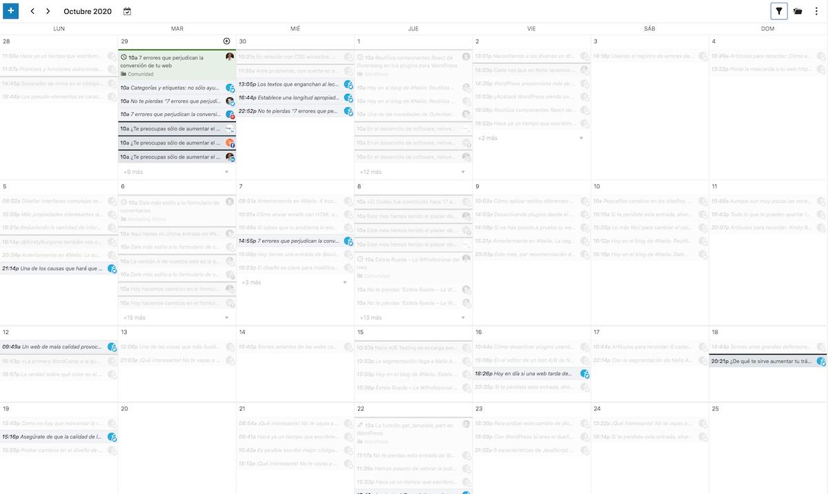 Elementos relacionados en el calendario editorial
