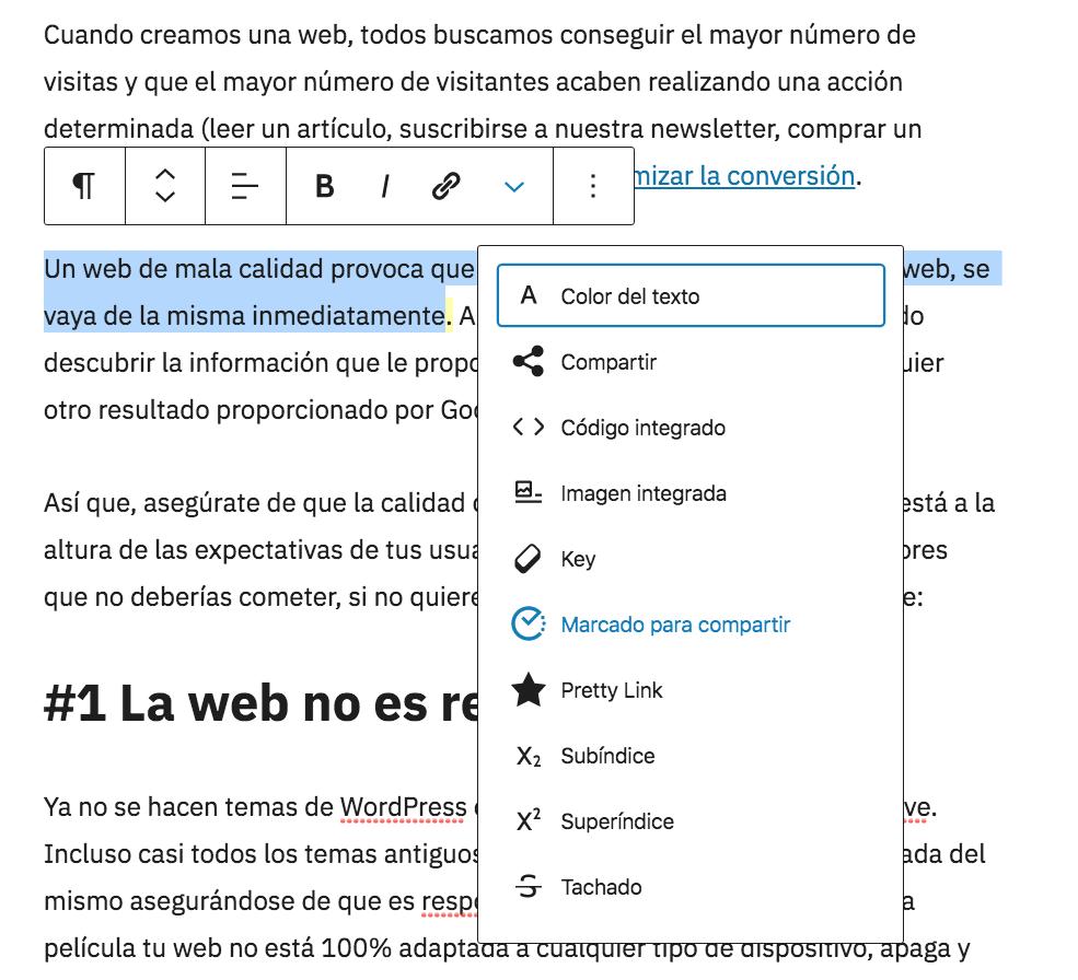 Editor visual de entradas de WordPress con texto seleccionado y el botón de compartir selección de Nelio Content.
