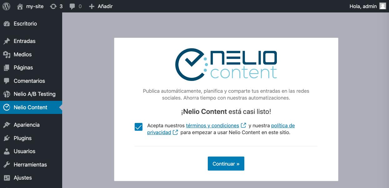Configuración inicial de Nelio Content.