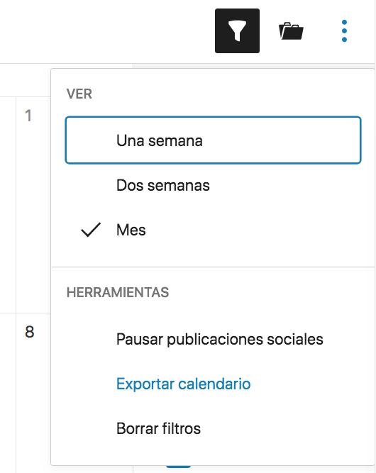 Exportar calendario de Nelio Content.