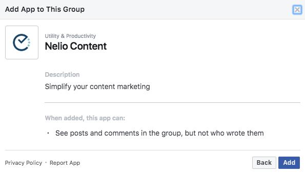 Confirma que quieres añadir la aplicación Nelio Content en tu grupo de Facebook.